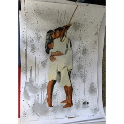 NAFIR - Last Kiss - Original stencil on paper 1/1
