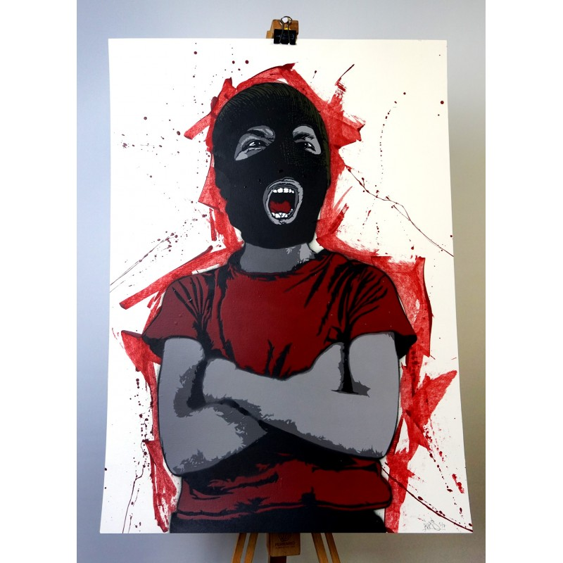 Alias  - Dissident - Stencil on paper - RED version