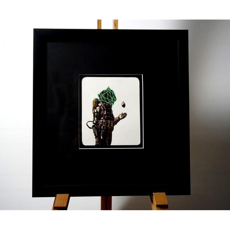 Deih - original on paper  framed