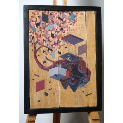 ETNIK - Original on wood - One
