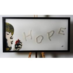 FRZ - Hope - stencil on plexy and wood