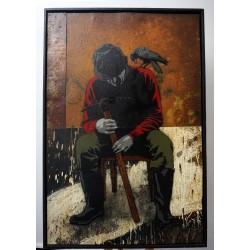 Alias - Krähe setzt sich neben krähe - Stencil on rusted iron