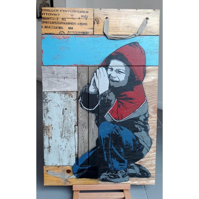 Alias  - Prayng Boy - unique on wood