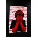 Alias - Faceless -Stencil original on paper - each unique background - number 1