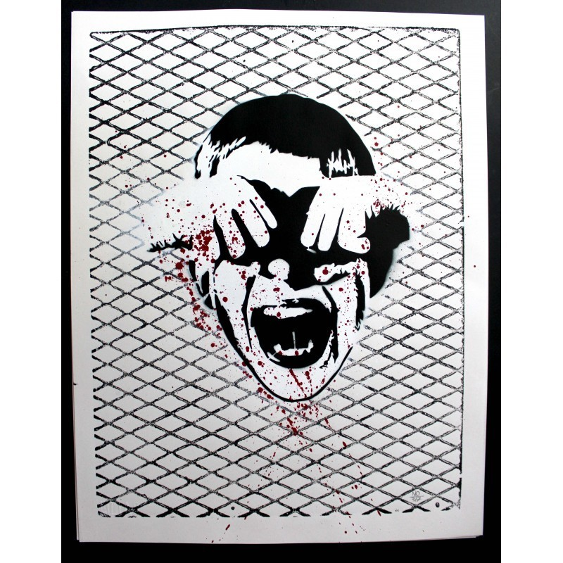 Alias - CRY BOY -Stencil original on paper