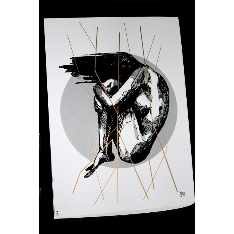 bosoletti screenprint 2 color gold and black - 32x45 cm